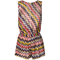 Missoni open back zig zag knitted playsuit - Pink