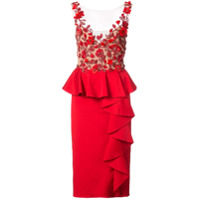 Marchesa Notte embellished poppy dress - Red