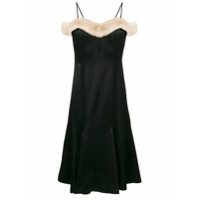 Blumarine fur trimmed fitted dress - Black