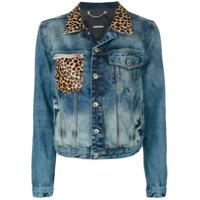 Diesel leopard print detail denim jacket - Blue