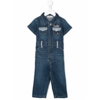 Miki House striped trim denim all-in-one - Blue
