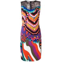 Roberto Cavalli lace panel fitted dress - Multicolour