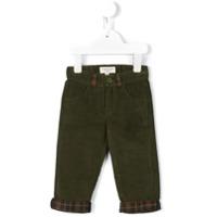 Cashmirino Checked panel corduroy trousers - Green