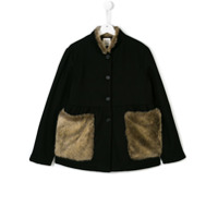 Douuod Kids Teen faux fur panel cape - Black