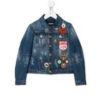 Dsquared2 Kids denim jacket with patch appliqus - Blue