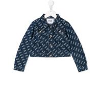 Msgm Kids logo print denim jacket - Blue
