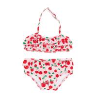 Fendi Kids cherry print ruffle bikini - Pink