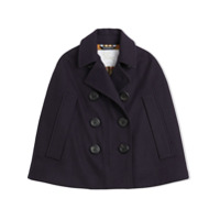 Burberry Kids Wool Pea Coat Cape - Blue