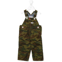 Miki House camouflage print dungarees - Green