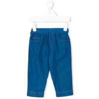 Moncler Kids embroidered logo jeans - Blue
