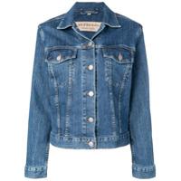 Burberry embroidered logo denim jacket - Blue