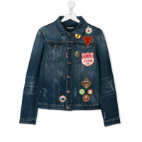 Dsquared2 Kids denim jacket with patch appliqus - Blue