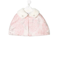 Patachou faux fur collar cape - Pink