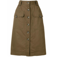Yves Saint Laurent Vintage straight buttoned skirt - Brown