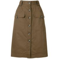 Yves Saint Laurent Vintage straight buttoned skirt - Brown