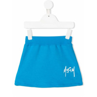 Msgm Kids printed logo skirt - Blue