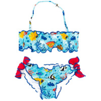 Mc2 Saint Barth Kids sea print bikini set - Blue