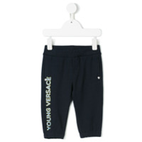 Young Versace printed logo track pants - Blue