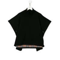 Burberry Kids TEEN checked trim poncho - Black