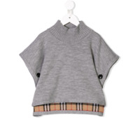 Burberry Kids reversible check poncho - Grey