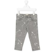 Gucci Kids splattered bleached jeans - Grey