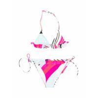 Emilio Pucci Junior striped ruffled bikini set - Pink