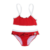 Moncler Kids ruffle detail bikini - Red