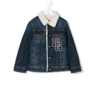 Dolce & Gabbana Kids logo patch denim jacket - Blue