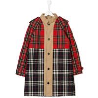 Burberry Kids TEEN mixed check trench coat - Neutrals