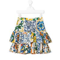 Dolce & Gabbana Kids printed ruffle skirt - White