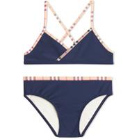 Burberry Kids Check Trim Bikini - Blue