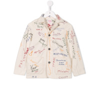 Denim Dungaree embroidered denim jacket - White