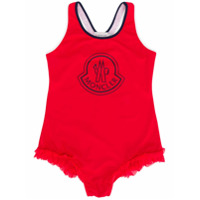 Moncler Kids contrast logo swimsuit - Red