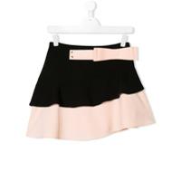 Elisabetta Franchi La Mia Bambina TEEN bow detail asymmetric skirt - Black