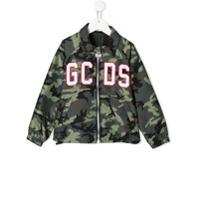 Gcds Kids camouflage logo patch shirt jacket - Green