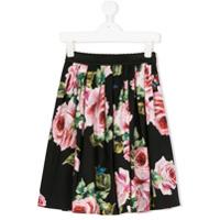 Dolce & Gabbana Kids roses print midi skirt - Black