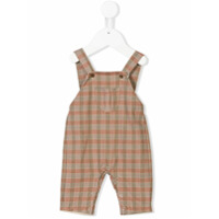 Knot front pocket check dungarees - Brown