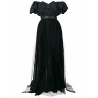 MSGM off shoulder gathered dress - Black