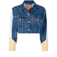 Levi's colour block cropped denim jacket - Blue