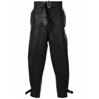 JW Anderson men's fold-front utility leather trousers - Black