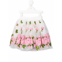 Monnalisa floral-embroidered skirt - White