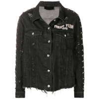 Philipp Plein distressed denim jacket - Black