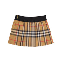 Burberry Kids Pleated Vintage Check Cotton Skirt - Yellow