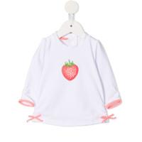 Sunuva embroidered strawberry rash top - White