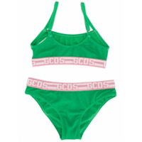Gcds Kids logo trim bikini set - Green