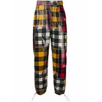 Palm Angels checked print loose trousers - Yellow