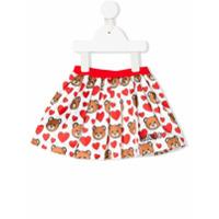 Moschino Kids toy heart print mini skirt - White
