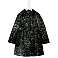 Young Versace croco-embossed coat - Black