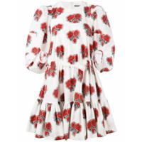 Alexander McQueen floral ruffled dress - White
