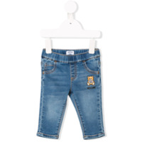 Moschino Kids Teddy logo embroidered jeans - Blue